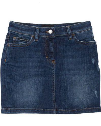Синяя джинсовая юбка с карманами с вышивкой Dolce & Gabbana