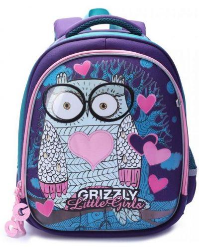 Фиолетовый школьный рюкзак с карманами Grizzly