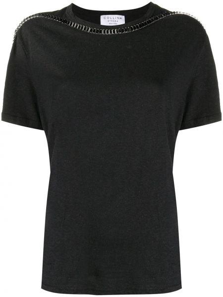 Bawełna czarny bielizna koszula z krótkim rękawem okrągły dekolt Collina Strada