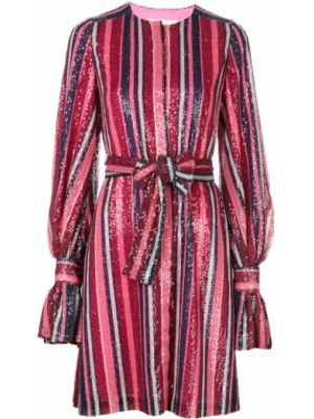 Sukienka mini z długim rękawem w pasy Carolina Herrera
