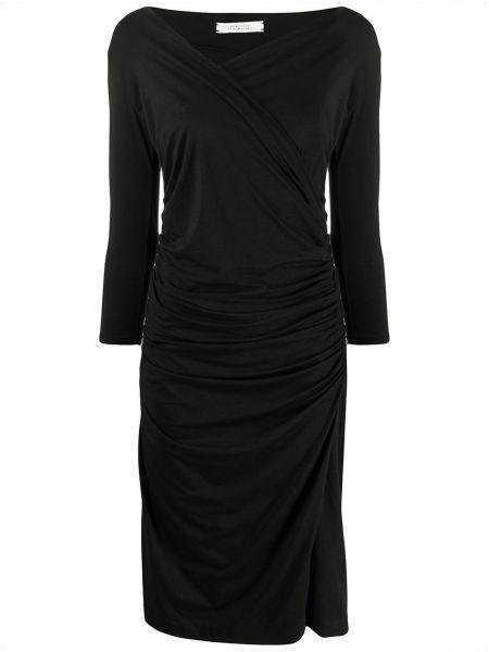 Прямое с рукавами черное платье миди Dorothee Schumacher