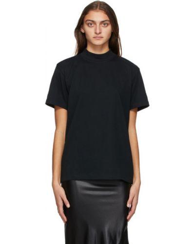 Черная рубашка с вышивкой с воротником с короткими рукавами Yohji Yamamoto
