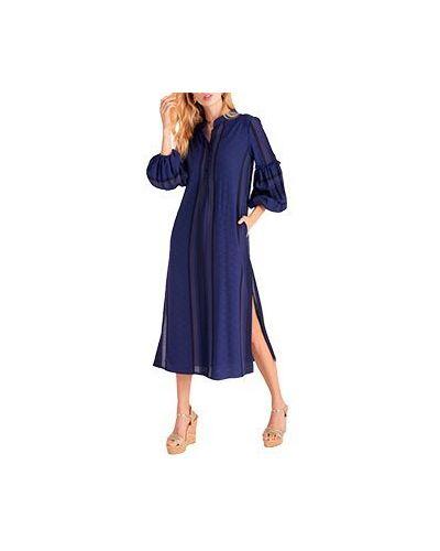 Повседневное платье из вискозы синее Luisa Spagnoli