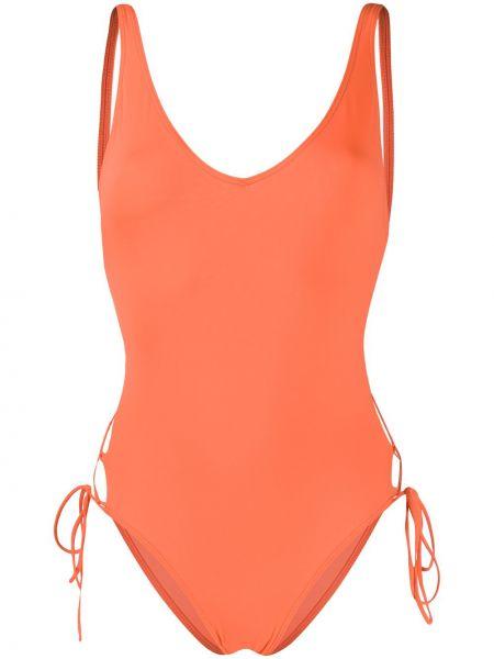 Оранжевый слитный купальник на шнуровке с открытой спиной без рукавов Sian Swimwear