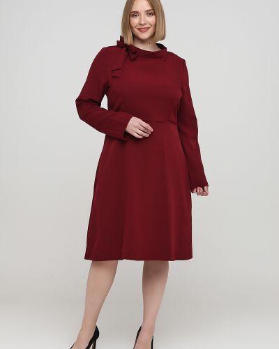 Красное платье макси с бантом с круглым вырезом Naoko
