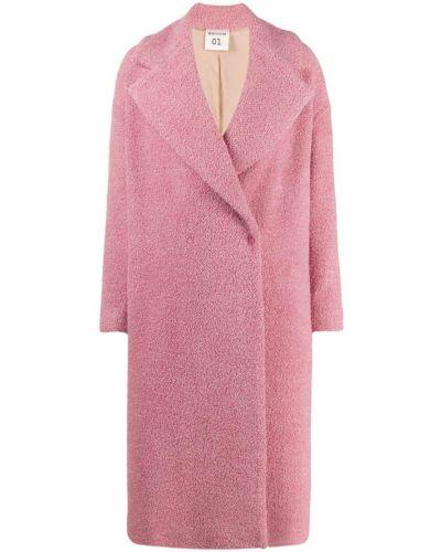 Розовое длинное пальто с капюшоном Semicouture