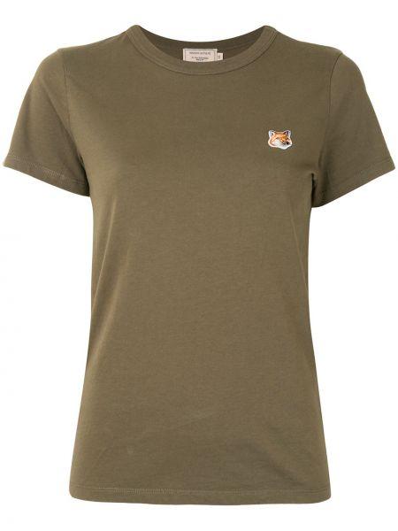Хлопковая прямая футболка с вышивкой с круглым вырезом Maison Kitsuné