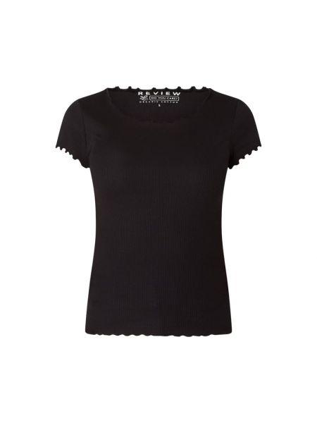 Prążkowany czarny t-shirt bawełniany Review
