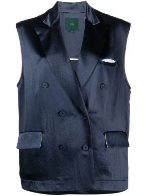 Синий пиджак двубортный без рукавов Jejia