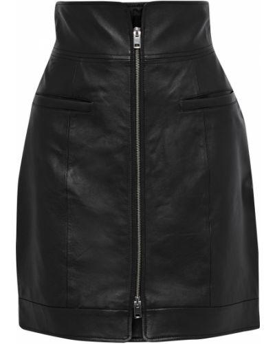 Черная кожаная юбка мини с карманами Walter Baker