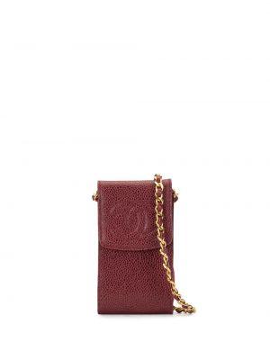 Кожаная золотистая красная кожаная сумка на кнопках Chanel Pre-owned