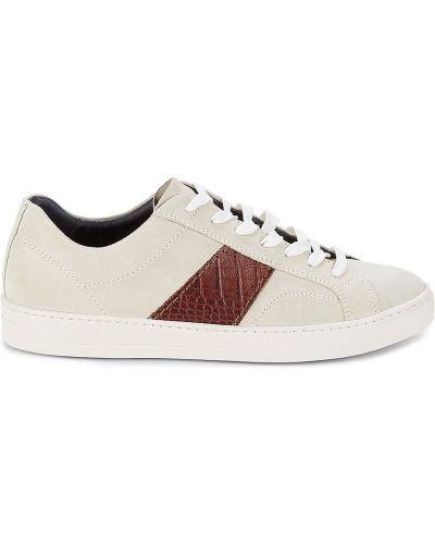 Кожаные белые кроссовки на платформе Bruno Magli