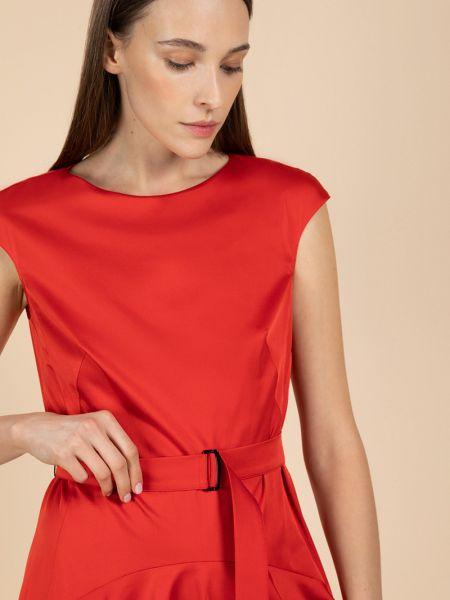 Красное приталенное плиссированное платье мини со складками Vassa&co
