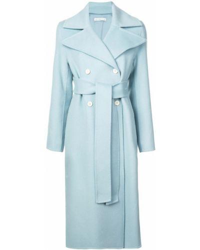 Синее длинное пальто с капюшоном на пуговицах Rejina Pyo