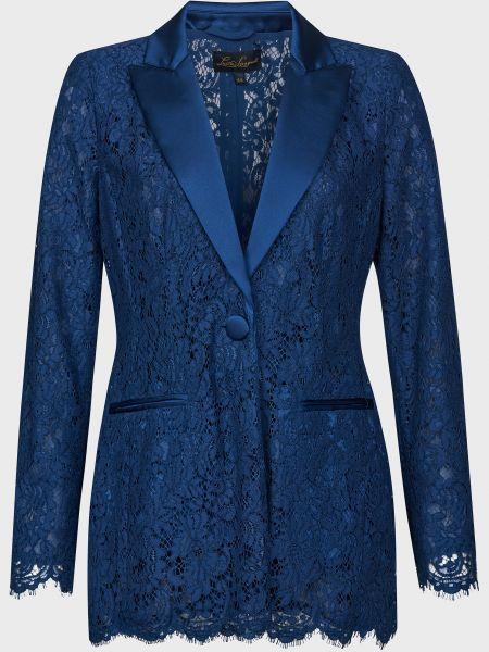 Синий пиджак на пуговицах из вискозы Luisa Spagnoli