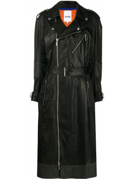 Ватное черное кожаное длинное пальто Koché