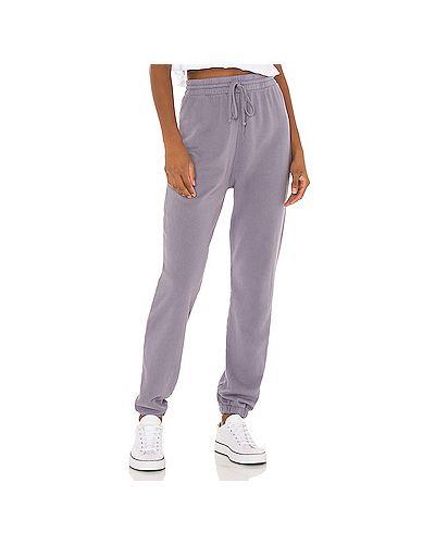 Хлопковые фиолетовые брюки на резинке с завязками с поясом Lna