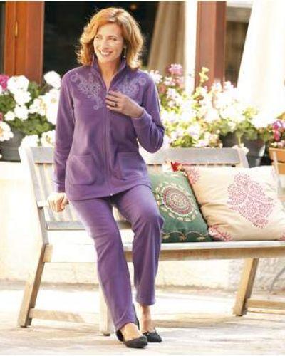 Фиолетовый костюмный домашний костюм с вышивкой с поясом Atlas For Men