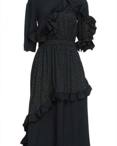 Czarna sukienka midi z jedwabiu Vivetta