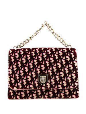С ремешком бархатная сумка на цепочке винтажная Christian Dior