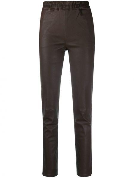 Кожаные брючные коричневые брюки с карманами Arma