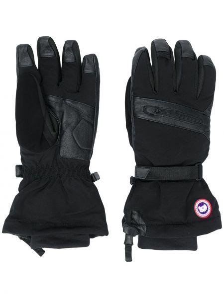 Wodoodporny czarny nylon rękawiczki z haftem Canada Goose