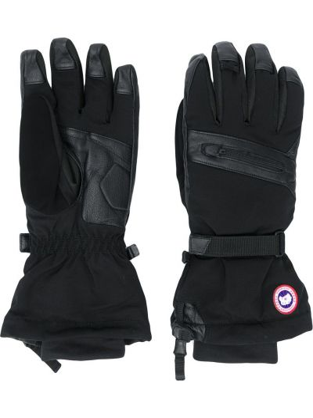 Czarne rękawiczki skorzane z haftem Canada Goose
