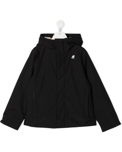 Черное пальто классическое с капюшоном с воротником K Way Kids