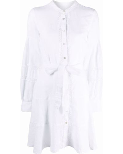 Белое платье макси с вырезом на пуговицах 120% Lino