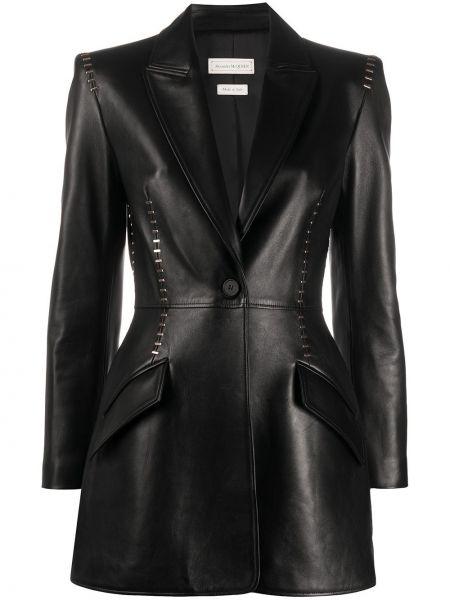 Приталенный кожаный черный удлиненный пиджак Alexander Mcqueen