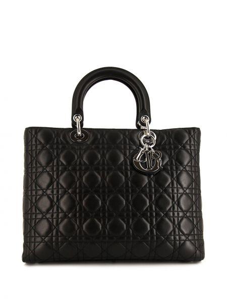 Czarny duży torba z prawdziwej skóry przeoczenie Christian Dior