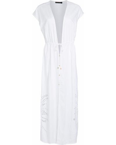 Белый кафтан с вышивкой на кнопках Vix Swimwear