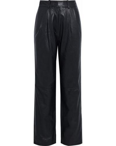 Прямые кожаные черные брюки Walter Baker