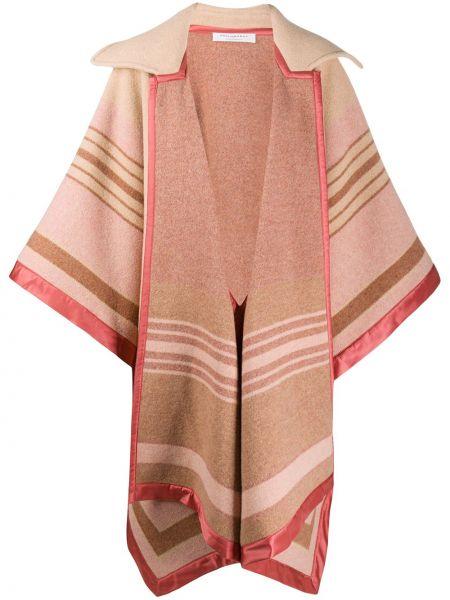 Розовое шерстяное длинное пальто с воротником Philosophy Di Lorenzo Serafini