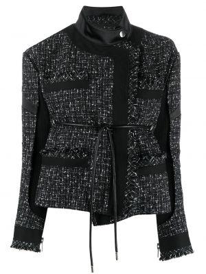 Черная куртка твидовая Sacai