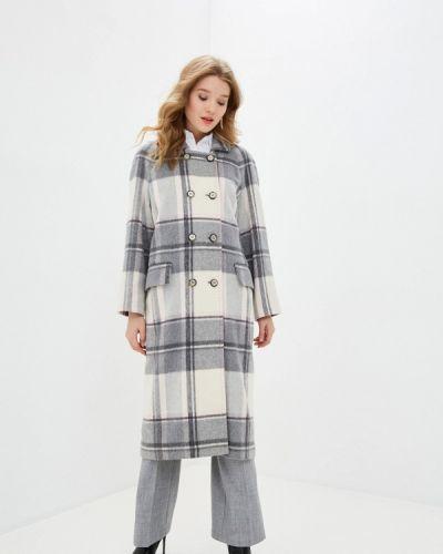 Серое пальто двубортное Anna Verdi