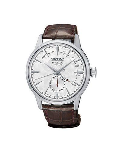 Часы механические с кожаным ремешком Seiko