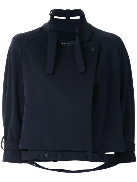 Черное пальто с поясом с рукавом реглан Gloria Coelho