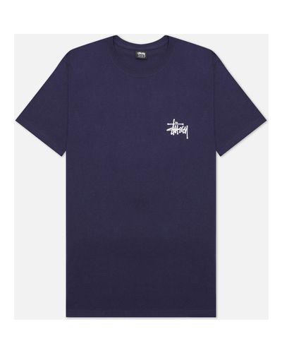 Синяя хлопковая базовая футболка Stussy
