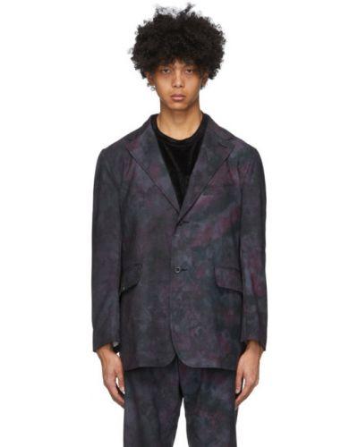 Шерстяной малиновый удлиненный пиджак с карманами Needles