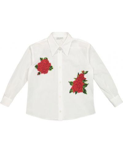 Biała koszula bawełniana z haftem Dolce & Gabbana Kids