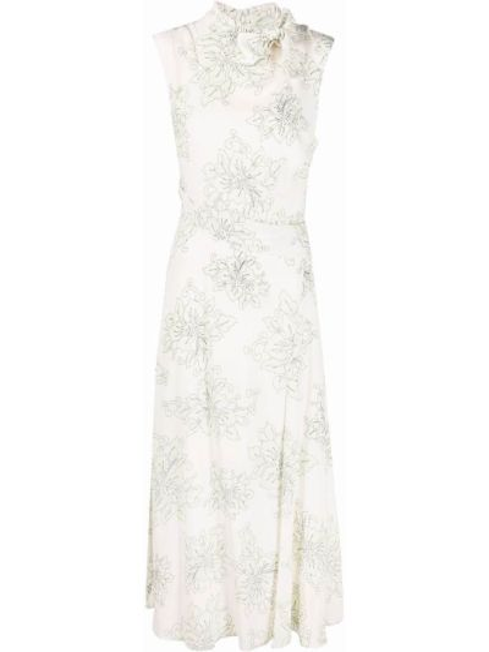 Платье в цветочный принт с драпировкой из вискозы Pinko