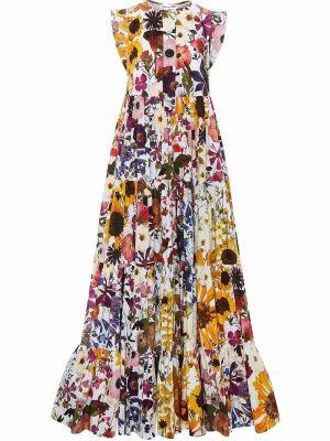 Белое платье макси в цветочный принт Oscar De La Renta