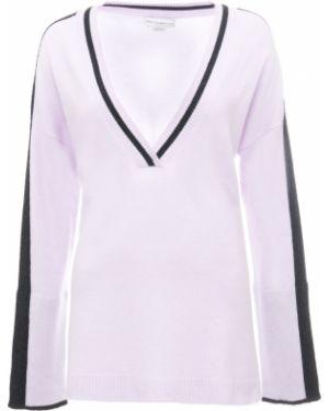 Шелковый сиреневый свитер с V-образным вырезом свободного кроя Amanda Wakeley