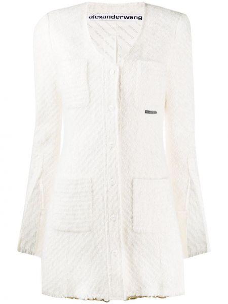 Белая нейлоновая длинная куртка с карманами с V-образным вырезом Alexander Wang