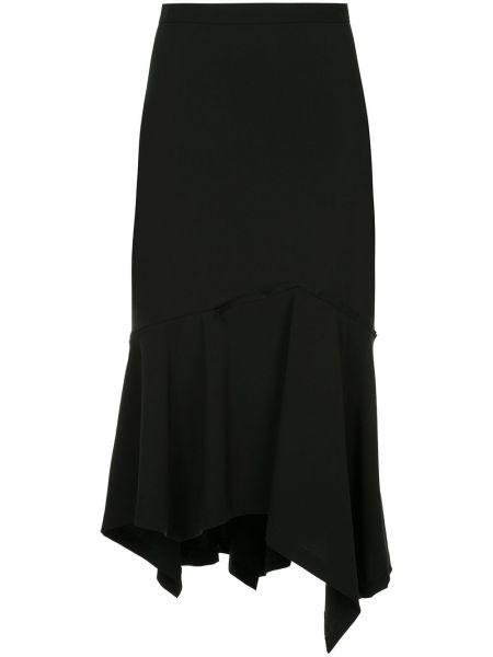 Шерстяная черная юбка миди на молнии Taylor