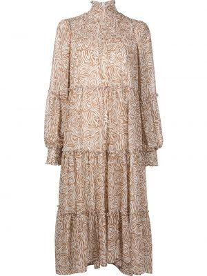 Коричневое платье макси с воротником на молнии Cinq À Sept