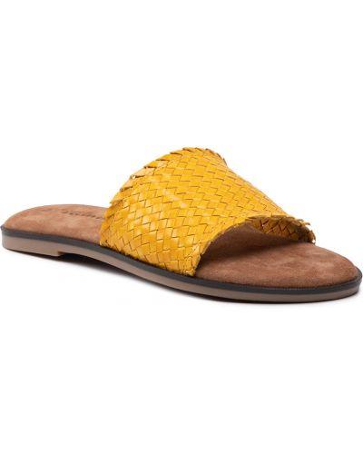 Klapki skorzane - żółte Tamaris