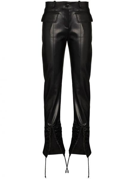 Кожаные брючные черные брюки Aleksandre Akhalkatsishvili