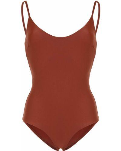 Коричневый пляжный классический купальник с шортами с вырезом Matteau